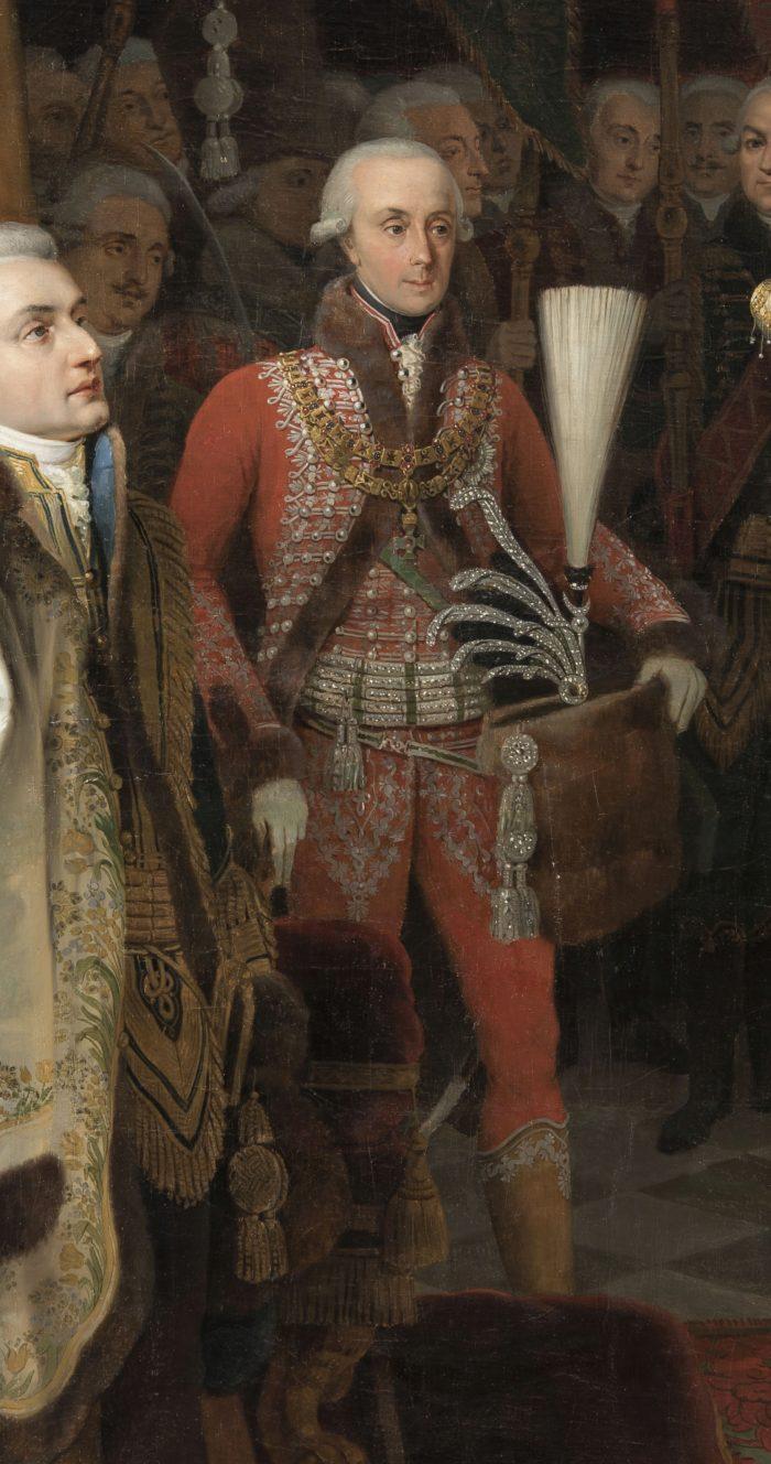 Peter Krafft: I. Ferenc megkoronázása, 1825 - Esterházy Antal testőregyenruhája