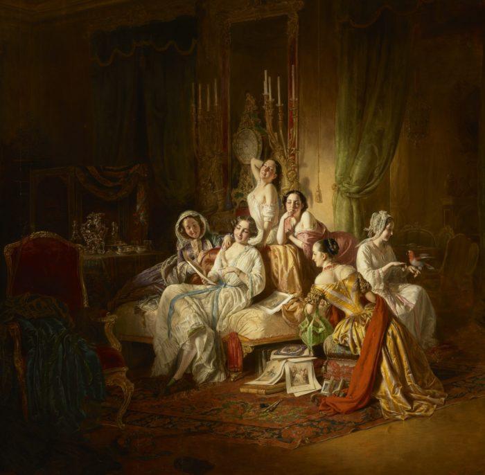 Tamara Gabbe: Hamupipőke, 1940 - Borsos József: Lányok bál után, 1850