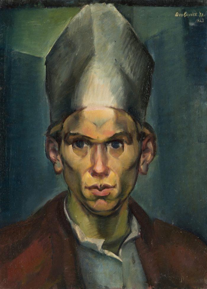 Derkovits Gyula: Püspöksüveges önarckép, 1923