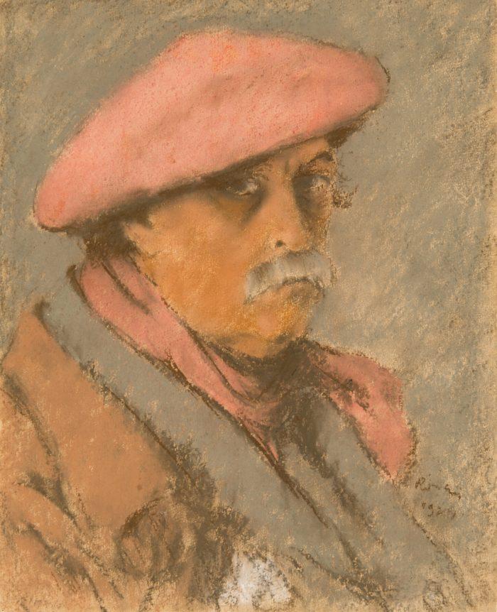Rippl-Rónai József: Vörös sapkás, vörös sálas önarckép, 1924