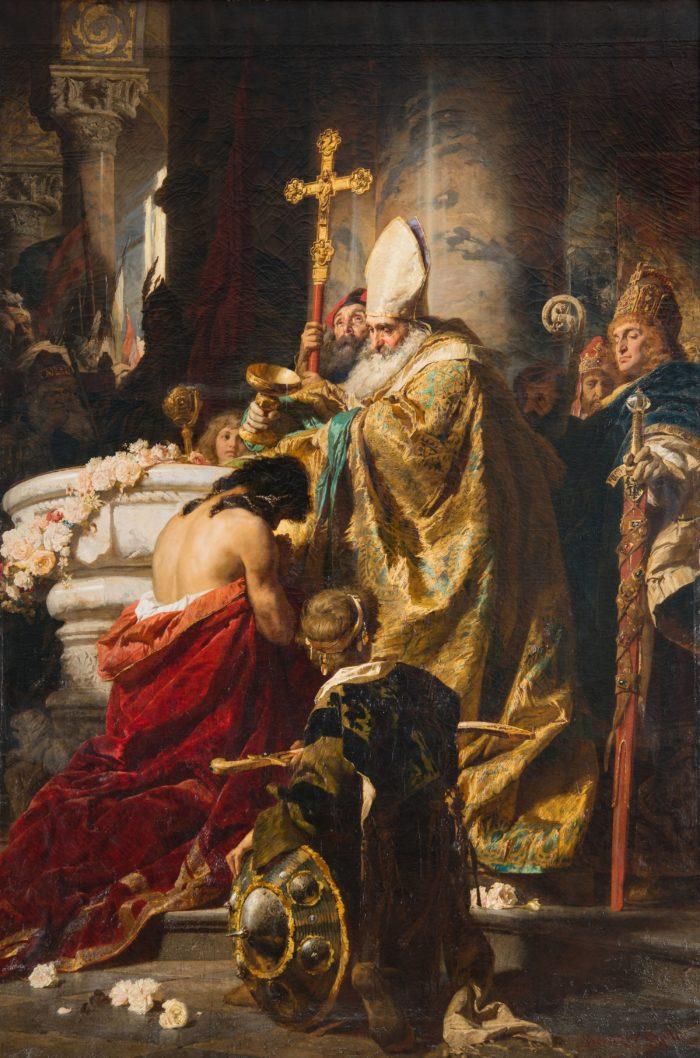 Benczúr Gyula: Vajk megkeresztelése, 1875 - történik: 995–996-ban