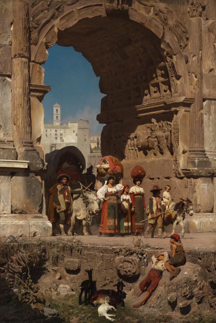 Franz von Lenbach: A Titus diadalív Rómában, 1860