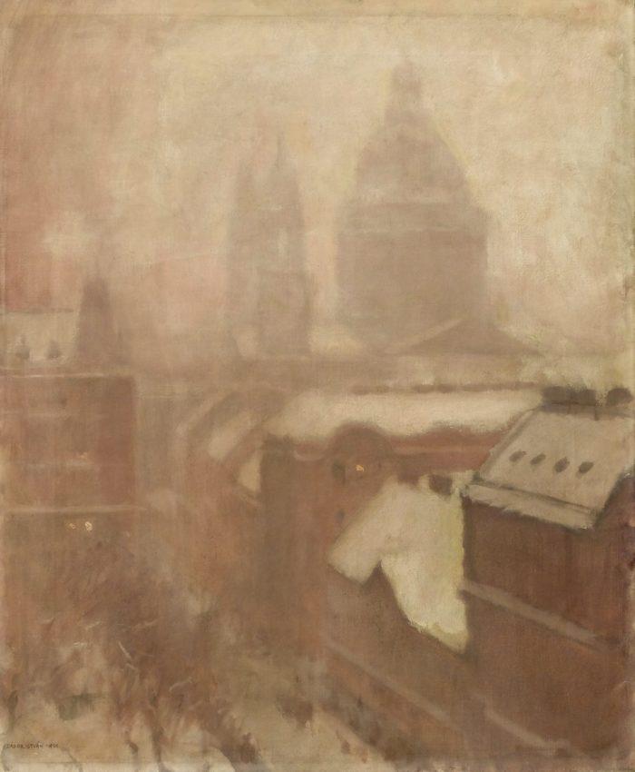 Zádor István: Ködös téli délelőtt az Erzsébet téren, 1921