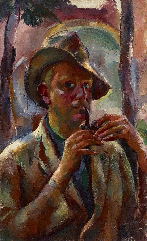 Aba-Novák Vilmos: Pipás önarckép, 1926